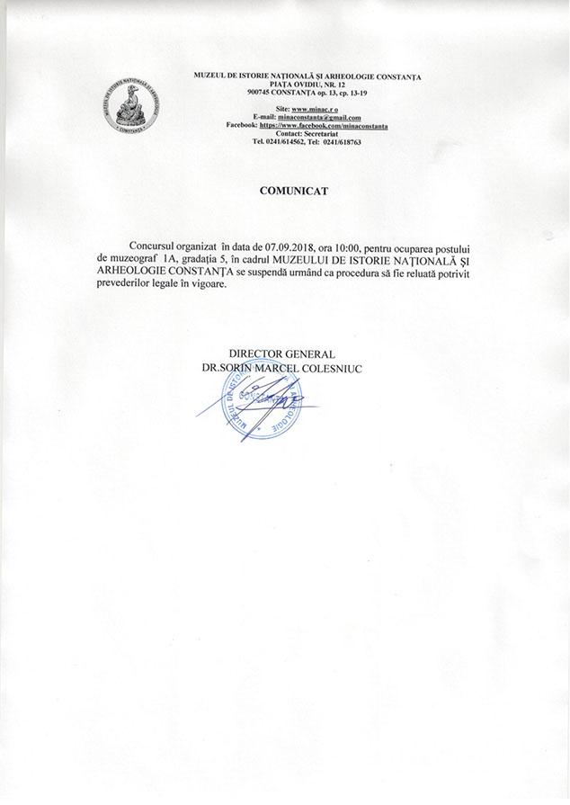 Anunțuri | Muzeul de Istorie Națională și Arheologie Constanța